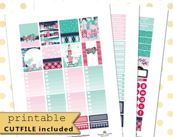 PREPPY CHRISTMAS Weekly Planner Sticker Kit/PrintablePlanner Stickers for use with Erin Condren Life Planner/December Sticker Set/Christmas