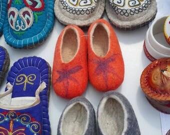Kazakh felt slippers