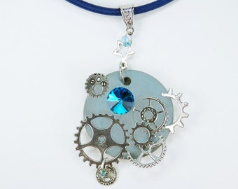Necklace glamour of Steampunk in light blue concrete jewelry on the blue silk ribbon Star Silver gears Strass stones concrete jewelry