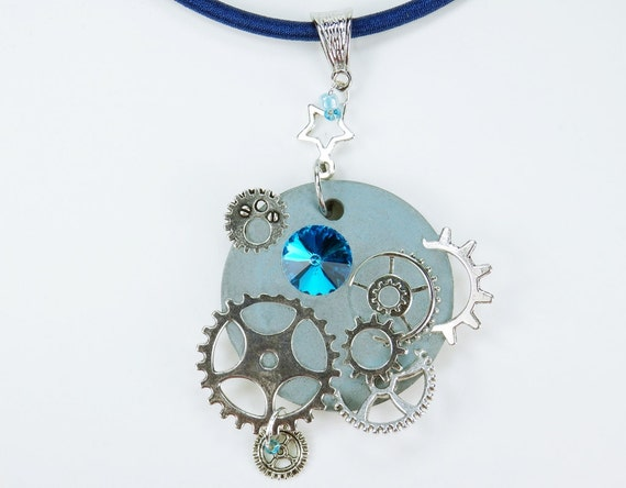Necklace Glamour steampunk in light blue concrete jewelry on the silk ribbon star Silver colored gear rhinestones Concrete Jewelry