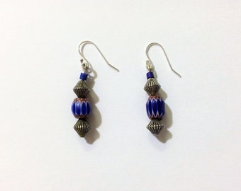 Silver and Blue Chevron Bead Earrings.
