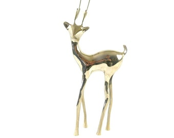 Vintage Large Chrome Reindeer Figurine / Metal Deer Figurine