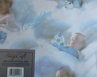 Vintage Baby Boy Gift Wrap, Baby Shower
