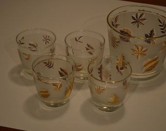 Mid Century Set of 4 Low Ball Glasses With Ice Bucket