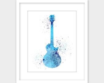 Guitar Art Music Watercolor Splatter Print, Musical Instrument Printable Art, Blue Instant Digital Download