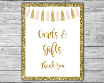 Pink and Gold - Baby Shower - Cards and Gifts - Sign - Printable - DIY - Instant Download - Pink - Gold - Tassels - 094