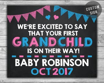 PRINTABLE Pregnancy Announcement Chalkboard Photo Prop - First Grandchild - Grandparents Baby Grandad Grandma Nan Chalk Sign - S005
