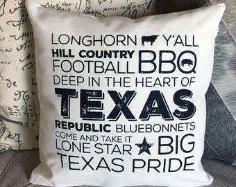 Best of Texas  Screen Printed Pillow