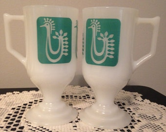 2 Federal Turquoise Danish Rooster/Bird Continental Mugs/Footed Mugs/Pedestal Mugs/MCM