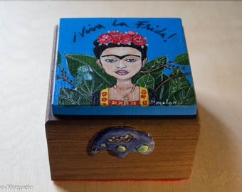Frida Kahlo Painted Box, Frida Kahlo Box, Frida Kahlo Jewelry Box, Handpainted Box, Frida Kahlo Art