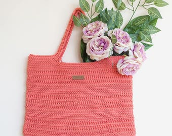 Coral Crochet Bag/Crochet Tote bag/Crochet Purse/ Capacious Handmade Crochet Bag/Handbag/Woman bag/