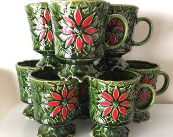 set of 8 Enesco poinsettia Christmas pedestal mugs
