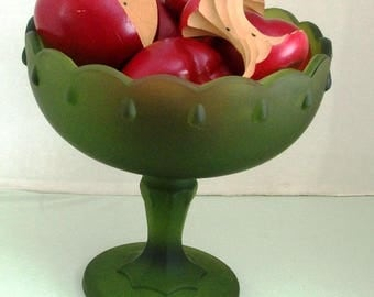 Vintage Green Compote Dish 1970's