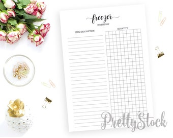 Freezer Inventory Printable, Freezer Inventory Printable Planner Inserts, A4, A5, Letter, Half letter, Binder Printable, Freezer Binder