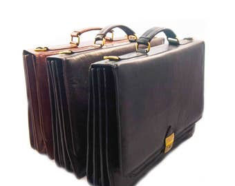 EXECUTIVE ATTACHE CASE leather briefcase with multi-compartments