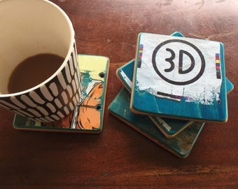 3D Skateboard drink coasters (set of 4)