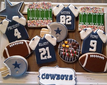 Dallas Cowboys Cookies - Football Cookies - Can be changed to your choice of team and jersey numbers
