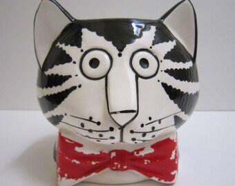 Kliban Cat Mug Vintage Cat Ceramic Coffee Mug Black and White Cat w/ Red Bow Tie Hand Painted Handpainted Mug 3D Cartoon Sigma Taste Setter