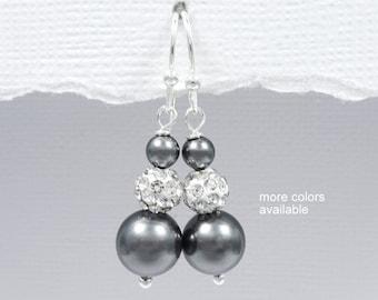 Grey Earrings, Grey Pearl Earrings, Wedding Earrings, Bridesmaid Earrings, Bridesmaid Gift Earrings, Bridal Party Gift, Bridesmaid Proposal