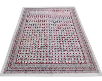Indian Hand Block Printed Floral Design Cotton Double Bed sheet in Red Color size 90x108""