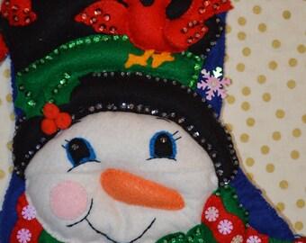 snowman and cardinals felt stocking