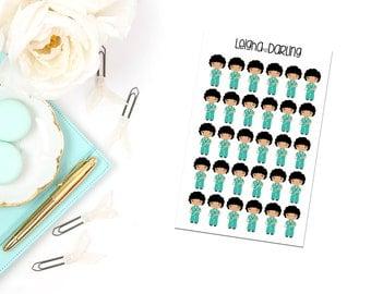 Black Hair Nurse Planner Stickers