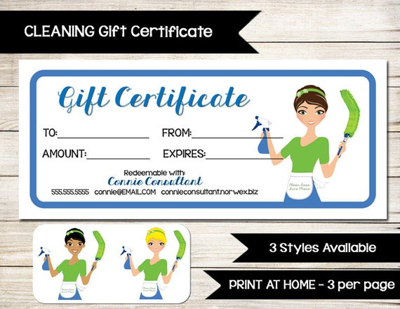 house cleaning gift certificate template