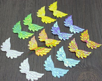 50pcs 35mm Assorted Colors Double Sided Iridescent Mini Angel Wing Appliques Glitter Mini Cupid, Fairy, Butterfly Wings Scrapbooking