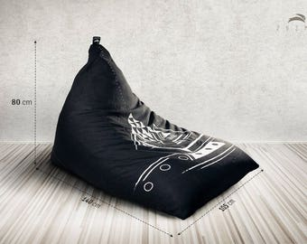 """Double layered, hand painted Bean Bag with resistant fabric - """"Maya"""" model"""