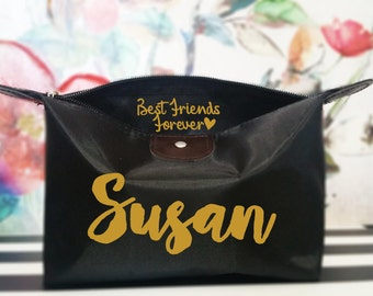 BEST Friedns personalized Gift, Best Friends Forevever, cosmetic bag, Makeup bag, BFF cosmetic bag, Lingerie Bag, zipper pouch