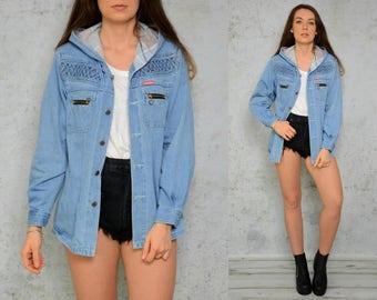 Hooded Denim jacket grunge light Blue vintage hipster jean Rocker coat jeans zippered M - L size