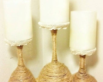 Rustic Home Decor, Wine Glasses, Rustic Lighting, Rustic Candle Holders, Wine Decor, Wine Decorations, Rustic Candles, Wine Lover Gift