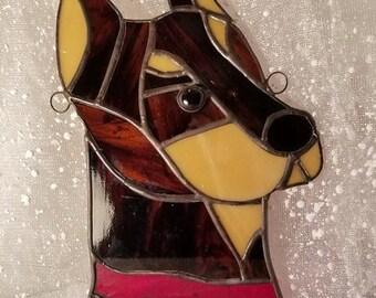 Doberman Pincher Dog Stained Glass Suncatcher