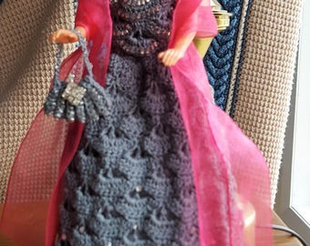 Barbie style jeweled ball gown / purse and shawl