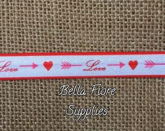 Love Fold Over Elastic- Heart FOE- Arrow Fold Over Elastic- Wholesale Elastic- DIY Headband- Valentines Day FOE- Elastic By The Yard