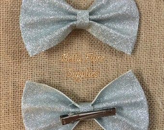 Silver Glitter Bow with Clip- 5 Inch-  Large Glitter Bow- Glitter Hair Clip- Wholesale Hair Clips