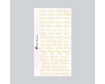 Gold Foil Words Stickers A