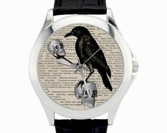 Edgar Allan Poe Watch - Poe Crow Watch - Skull Raven Watch -  Poe Book Page Watch - Nevermore Watch - Bird Watch - Surrel Odd Wrist Watches