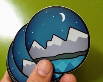 Mountain lake Pacific Northwest Hiking scenic vinyl sticker