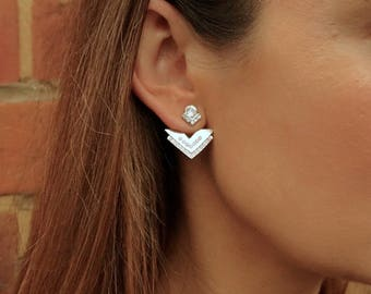 Triangle drop ear jacket earrings with swarovski elements pink opal stones