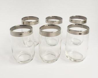6 chrome rimmed madmen style bar glasses