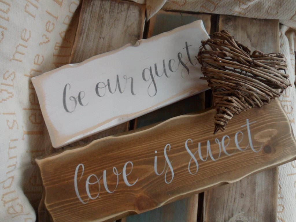 Wooden Candy Table ~ Love is sweet sign rustic wood wedding table