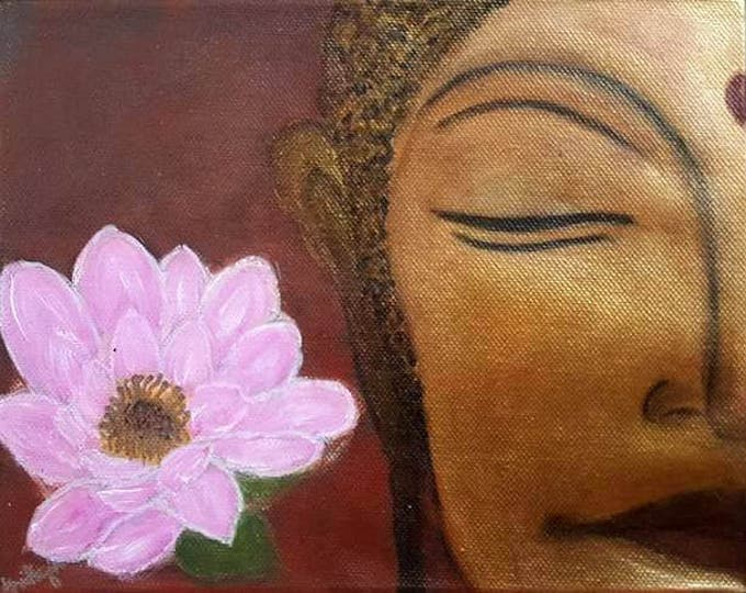 MEDITATING GOLDEN BUDDHA - Reiki Charged, Zen art, Gift for Yoga/ Meditation/ Reiki Teacher, Healing, Mediation and Yoga Wall decor.