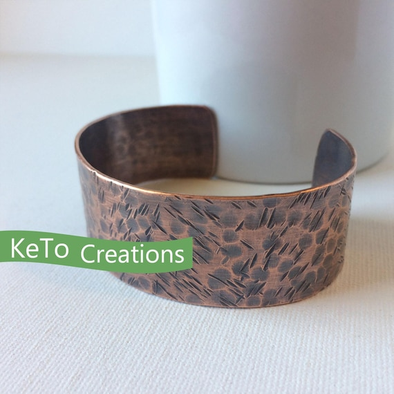 Hand forged hammered copper bracelet coppper bracelets