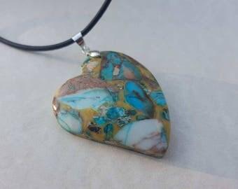 Sea sediment of Jasper heart necklaces pendant multi color sea sediment Jasper and pyrite pendant necklace - sea sediment Jasper heart