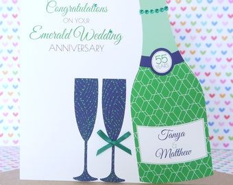 Personalised Handmade Emerald/55th Wedding Anniversary Card, Friends, Sister, Brother, Mum & Dad, Nanny and Grandad