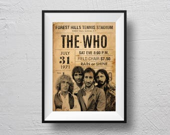 The Who Poster, concert poster, The Who concert, retro concert poster, The Who souvenir, original design