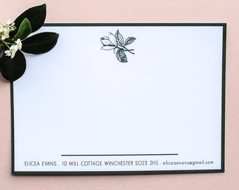 Green Magnolia Personalised Name Stationery Set