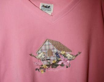 Vintage Northern Reflections Pink Sweatshirt With Birds/House, Women's XL
