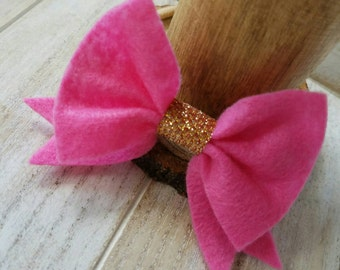 Hot pink & Gold felt bow